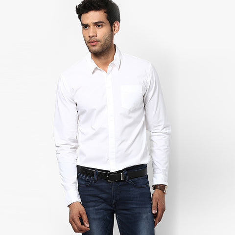 Uneek Full Sleeve Casual Shirt For Men-White-BE803