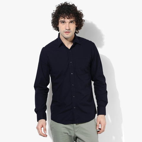 Uneek Full Sleeve Casual Shirt For Men-Dark Navy-BE804