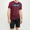 brandsego - Levis Crew Neck Single Jersey Tee Shirt For Men-Dark Maroon Faded-NA8725