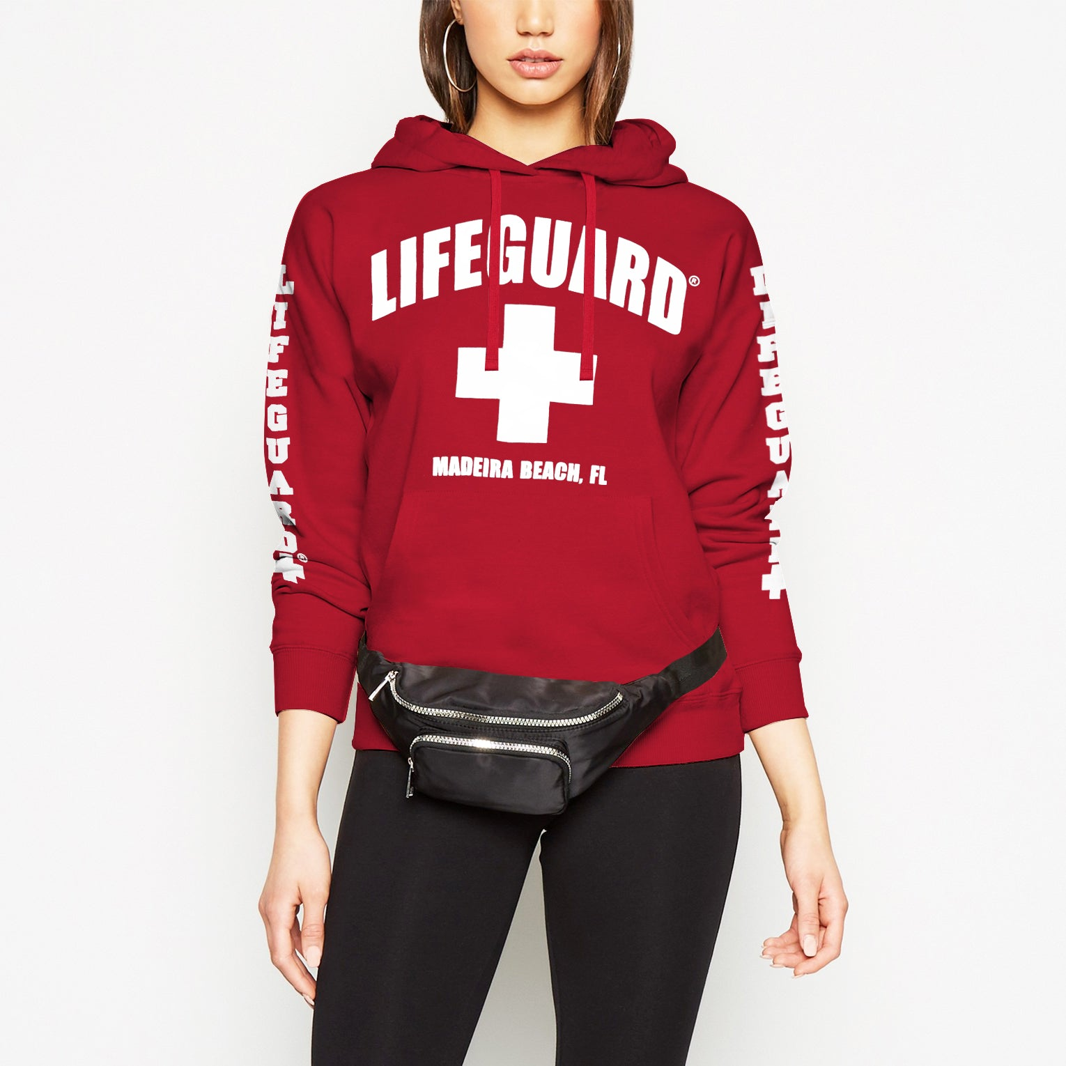 Life Guard Fleece Pullover Hoodie For Women-Red-NA9790