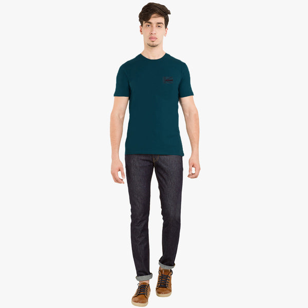 Men's  Cut Label George Stylish Tee Shirt-Dark Cyan-F0055