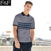 F&F Polo Shirt For Men-Gray Melange with Stripe Panel-BE2456