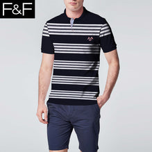 F&F Polo Shirt For Men-Black & White Stripe-BE2458