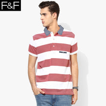 F&F Polo Shirt For Men-White & Red Melange Stripe-BE2464