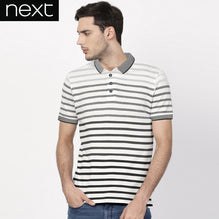 Next Polo Shirt For Men-White & Gray Stripe-BE2461
