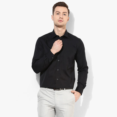 Uneek Full Sleeve Casual Shirt For Men-Black-BE802