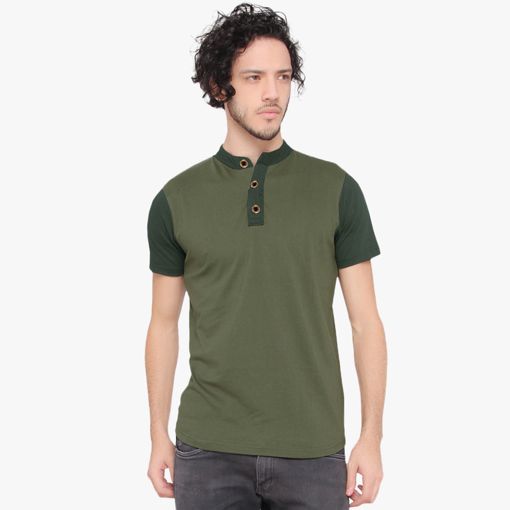 "Mens ""Next"" Cut Label Crew Neck Henley Tee Shirts-Green-Olive-CN11"