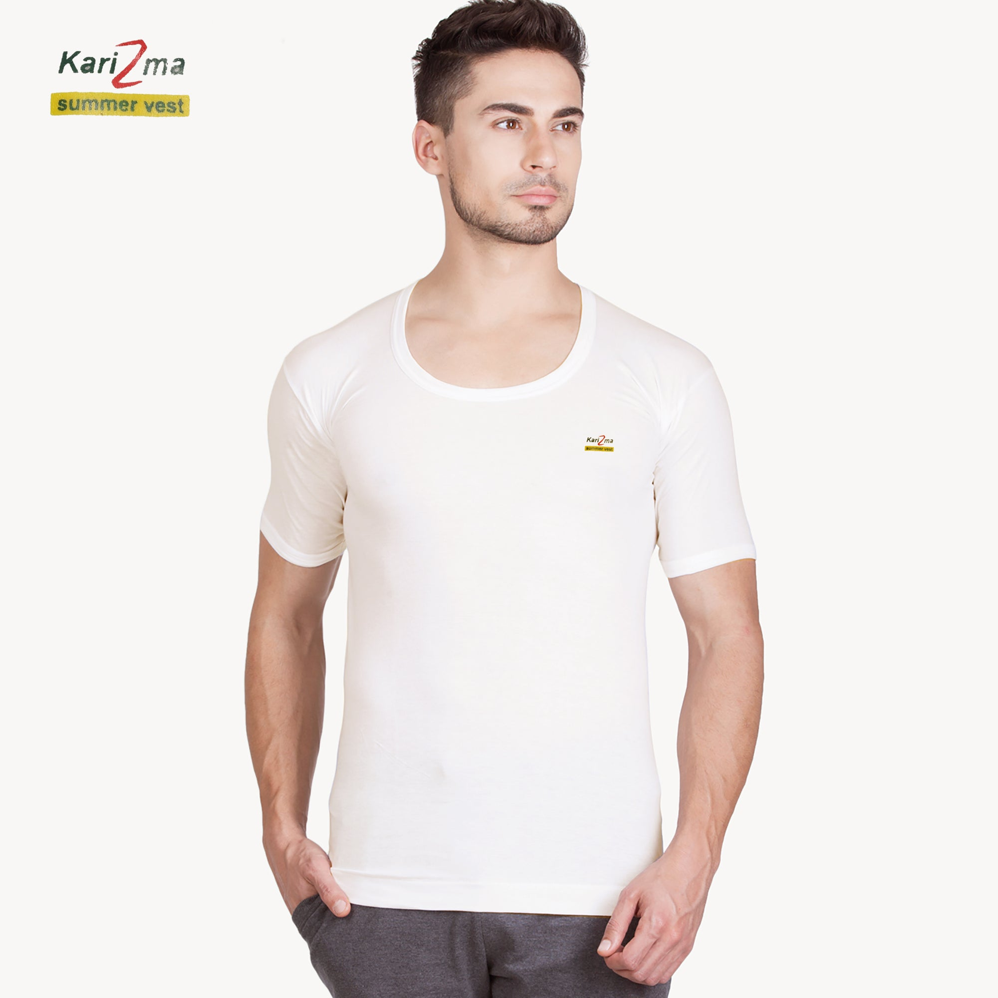 brandsego - Karizma Inner-Wear Short Sleeve Vest For Men-BE4329