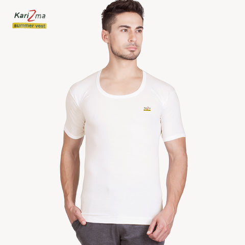 Karizma Inner-Wear Short Sleeve Vest For Men-BE4329