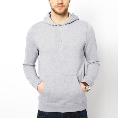 F&F Pullover Fleece Hoodie For Men-Grey Melange-BE3787