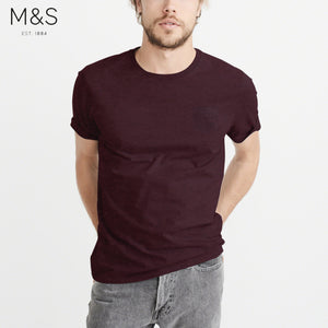 M&S Crew Neck Pocket Style T Shirt For Men-Dark Burgundy Melange-BE4334