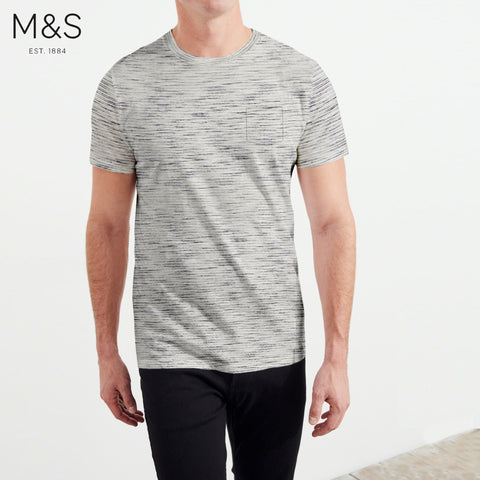 M&S Crew Neck Pocket Style T Shirt For Men-Off White with Stripe-BE4336