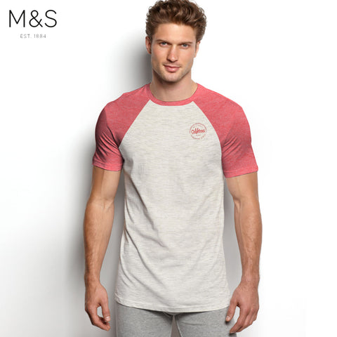 M&S Crew Neck Raglan Sleeve T Shirt For Men-Off White & Red Melange-BE4342