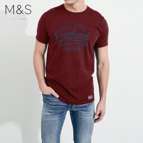 M&S Crew Neck T Shirt For Men-Burgundy Melnage-BE4325