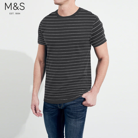 M&S Crew Neck T Shirt For Men-Charcoal & Lining-BE4332