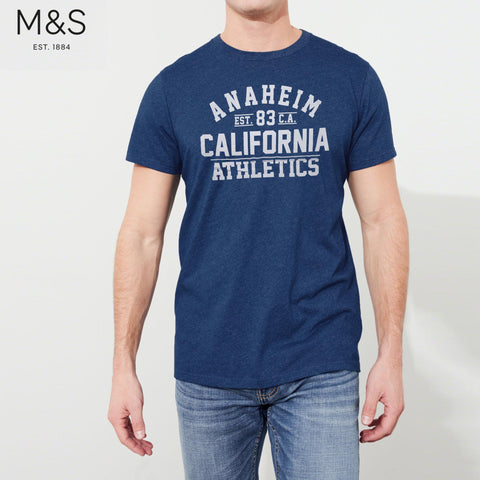 M&S Crew Neck T Shirt For Men-Dark Blue Melange-BE4339