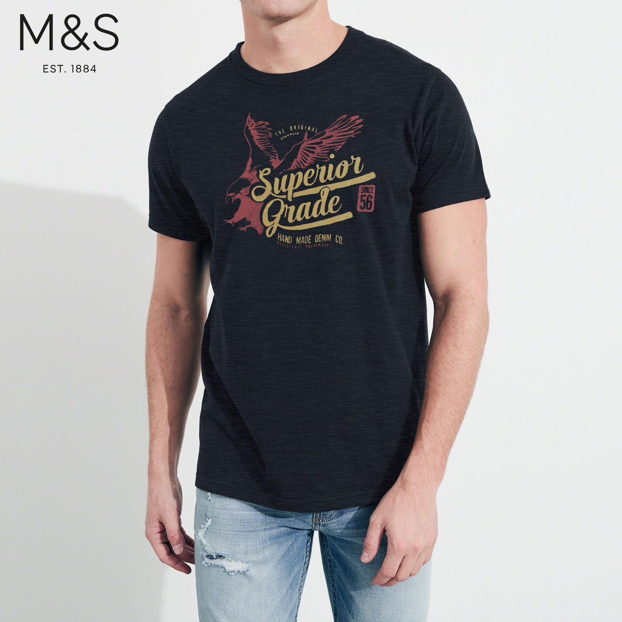M&S Crew Neck T Shirt For Men-Dark Navy Melange-BE4338