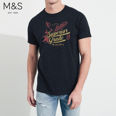 brandsego - M&S Crew Neck T Shirt For Men-Dark Navy Melange-BE4338