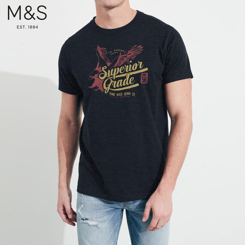 M&S Crew Neck T Shirt For Men-Dark Melange-BE4338
