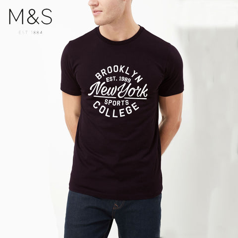M&S Crew Neck T Shirt For Men-Dark Scarlet-BE4326