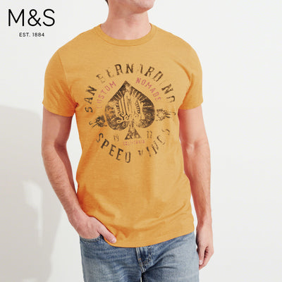 M&S Crew Neck Tee Shirt For Men-Golden Melange-BE4482