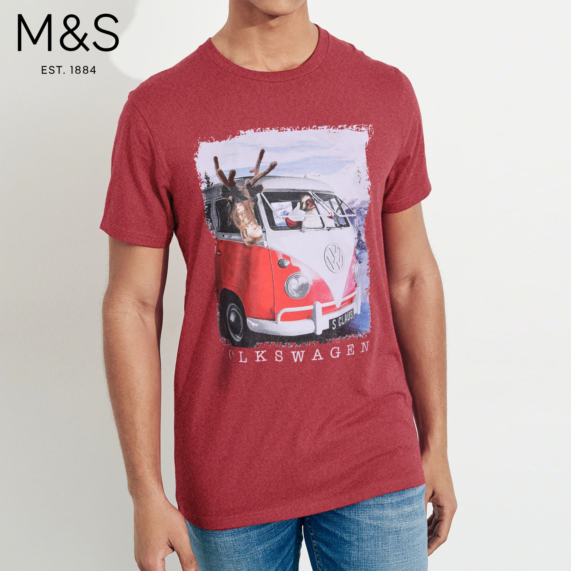 M&S Crew Neck Tee Shirt For Men-Red Melange-BE4486
