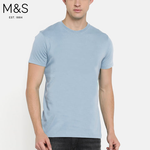 M&S Crew Neck T Shirt For Men-Sky-BE4471