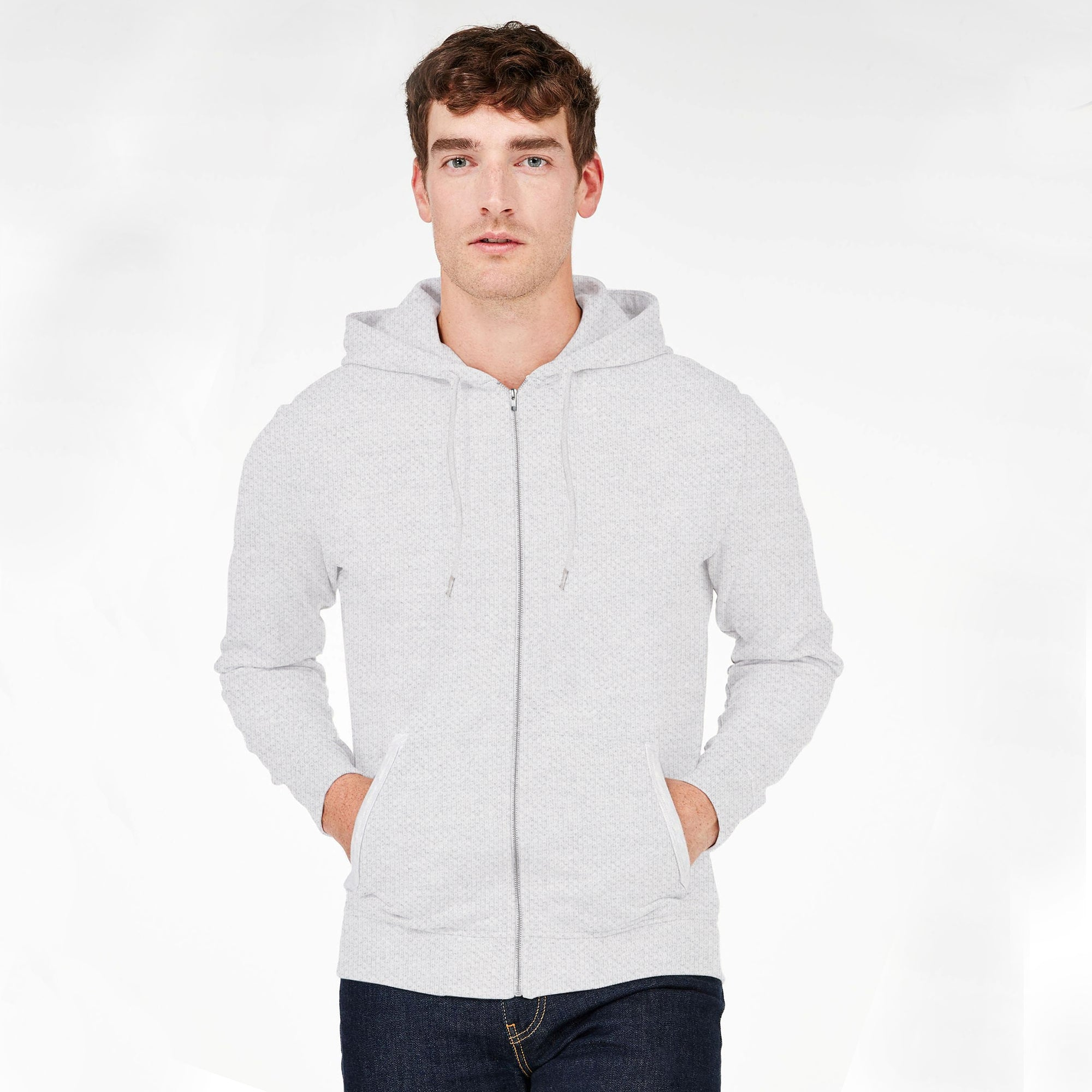 a141c20ca M&S P.Q Terry Full Zipper Hoodie For Men-Grey-BE6199 - BrandsEgo