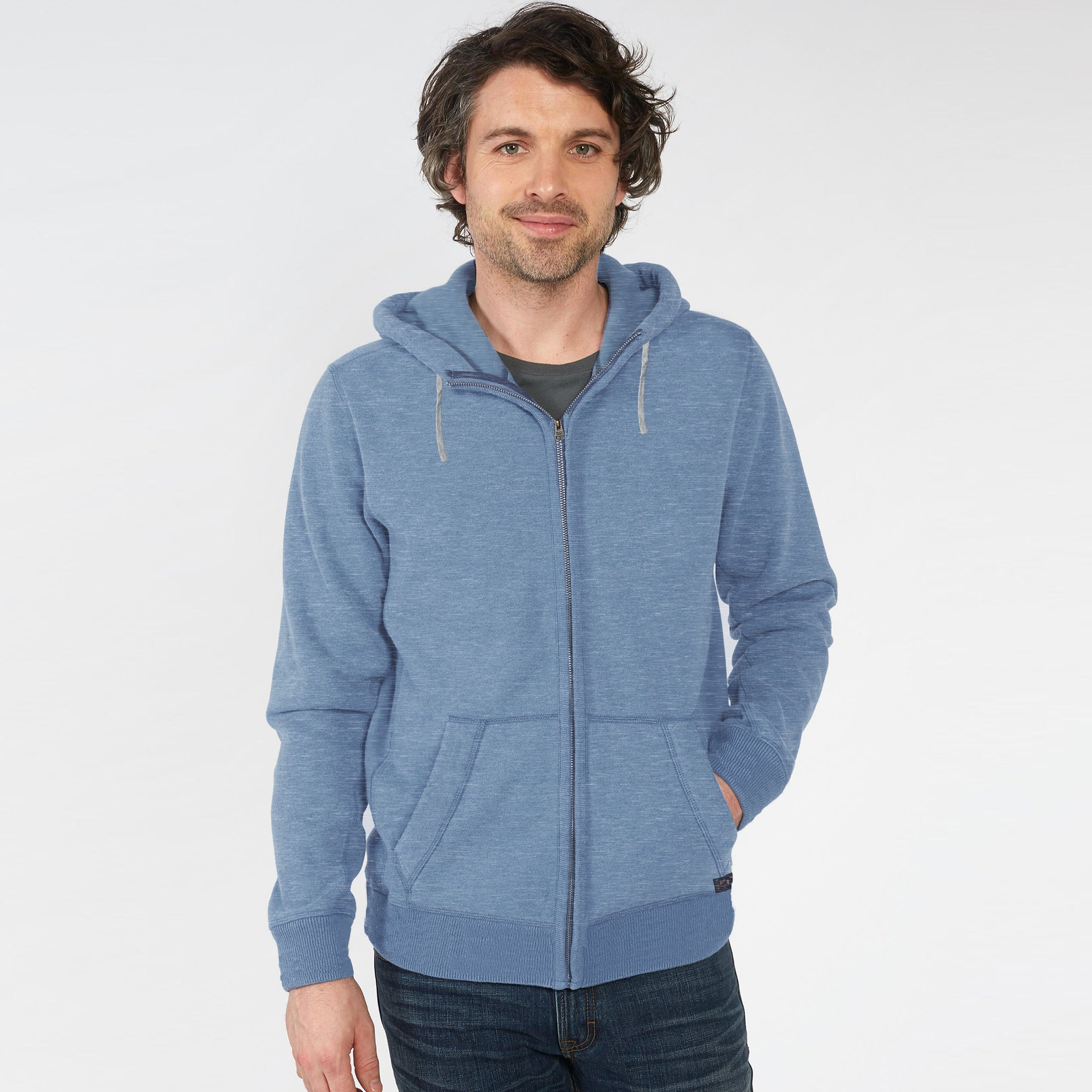 05b18460923d M S Zipper Terry Fleece Hoodie For Men-Light Sky Melange-BE4047 - BrandsEgo