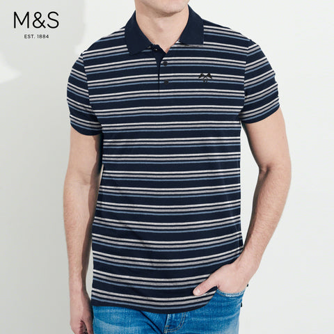 M&S Single Jersey Polo Shirt For Men-Dark Navy & Stripe-BE4509