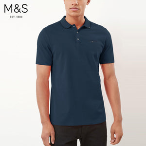 M&S Single Jersey Polo Shirt For Men-Light Navy-BE4439