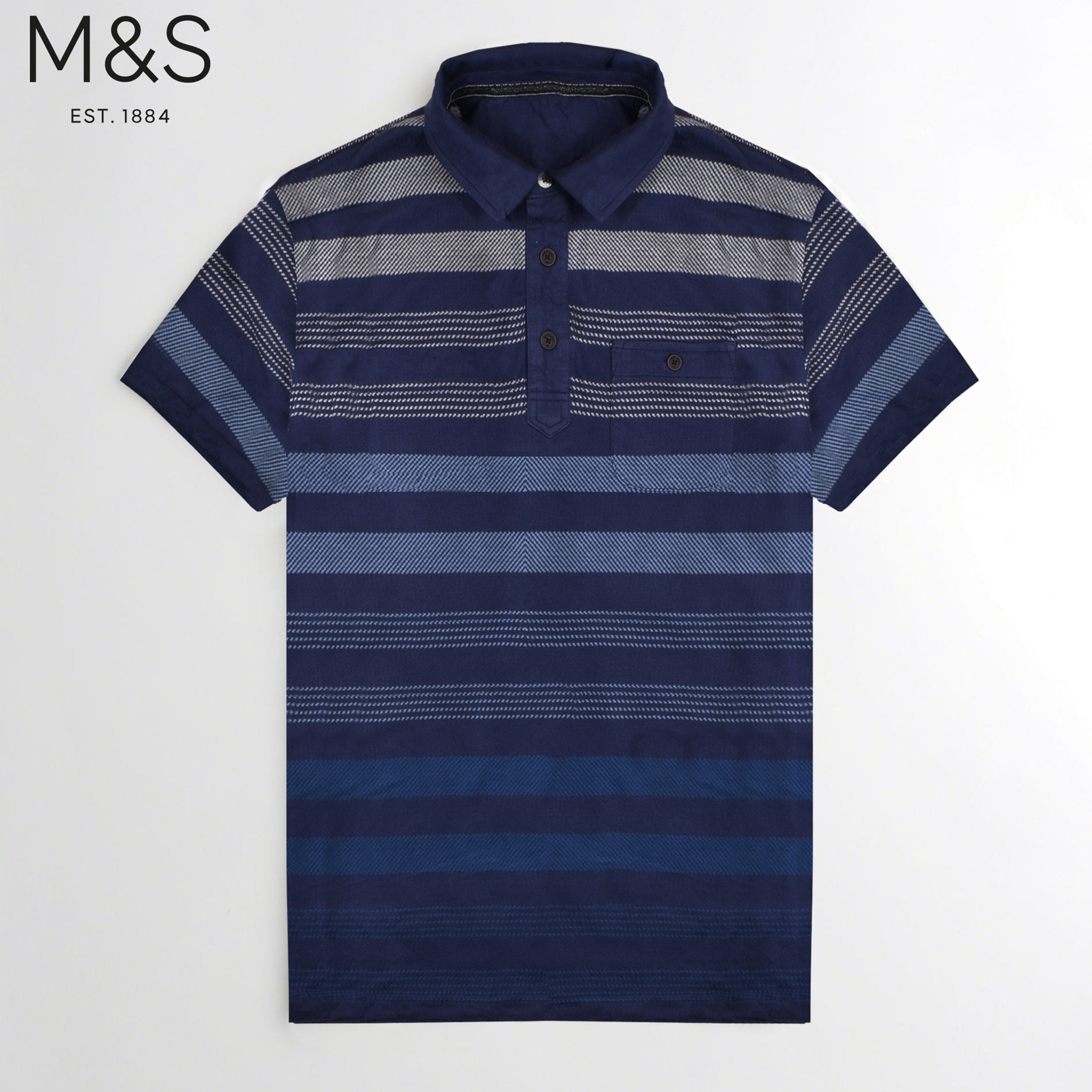 M&S Single Jersey Multi Striper Polo Shirt For Men-Dark Navy-NA841