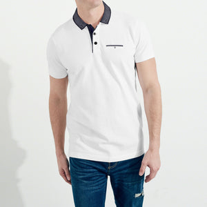 M&S Single Jersey Polo Shirt For Men-White-NA5072