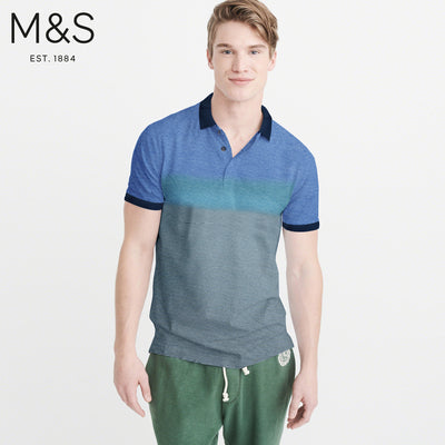 M&S Single Jersey Striper Polo Shirt For Men-Blue-NA845