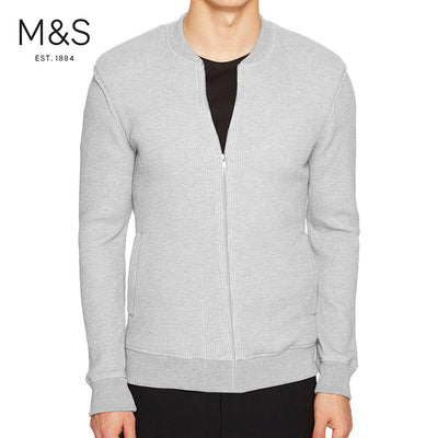 M&S Thermal Baseball Jacket For Men-Grey-BE6138