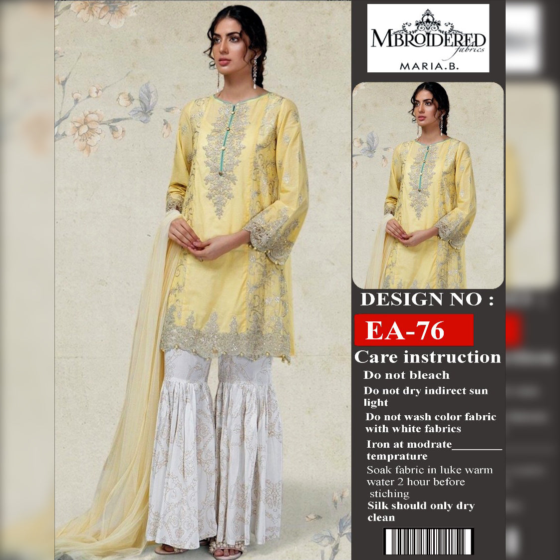 Maria B Lawn Collection 3 Piece Un-stitch Suit For Ladies-NA8837
