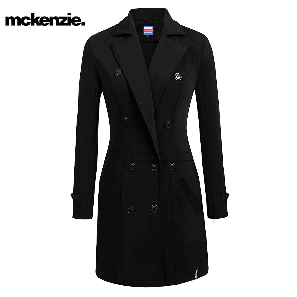 brandsego - McKenzie Stylish Long Trench Coat For Ladies-Black-NA6729