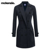 McKenzie Stylish Long Trench Coat For Ladies-Dark Navy Melange-NA6771