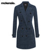 McKenzie Stylish Long Trench Coat For Ladies-Blue Melange-NA10076