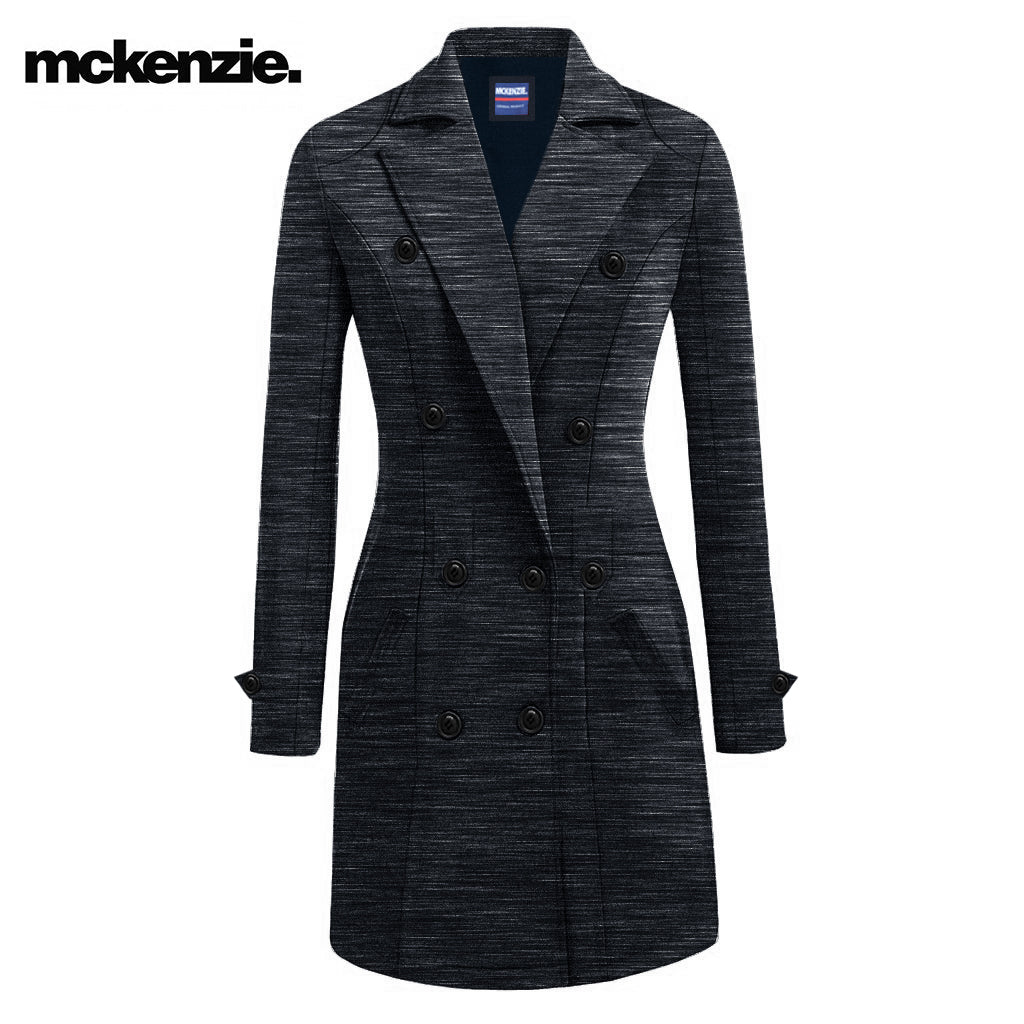 c396783266ec81 McKenzie Stylish Long Trench Coat For Ladies-Dark Blue Melange With Li -  BrandsEgo