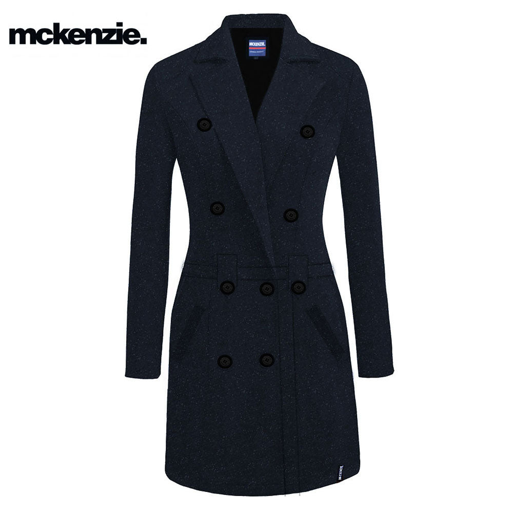 McKenzie Stylish Long Trench Coat For Ladies-Dark Navy Melange With Dotted-NA6774