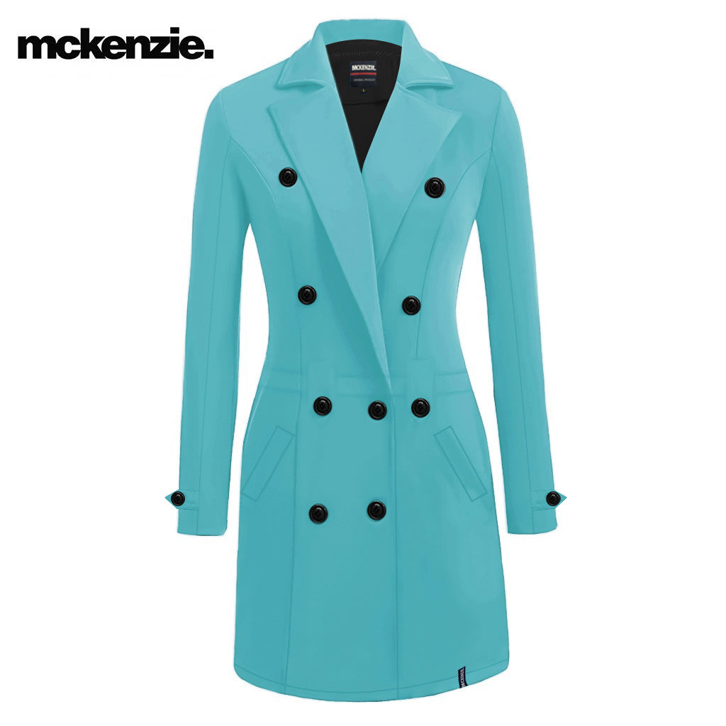 McKenzie Stylish Long Trench Coat For Ladies-Ferozi-NA10063