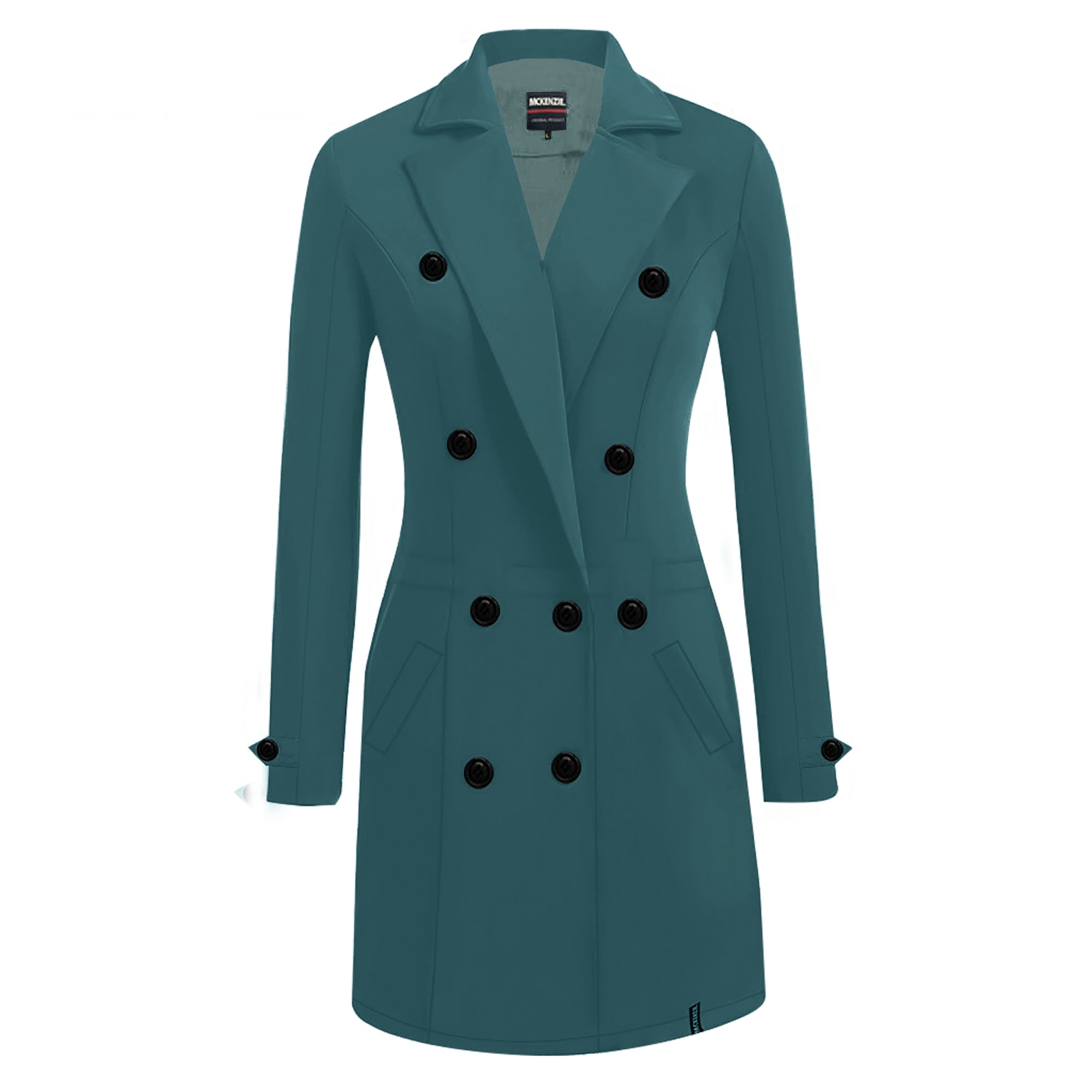 McKenzie Stylish Long Trench Coat For Ladies-Prussian Blue-SP4128