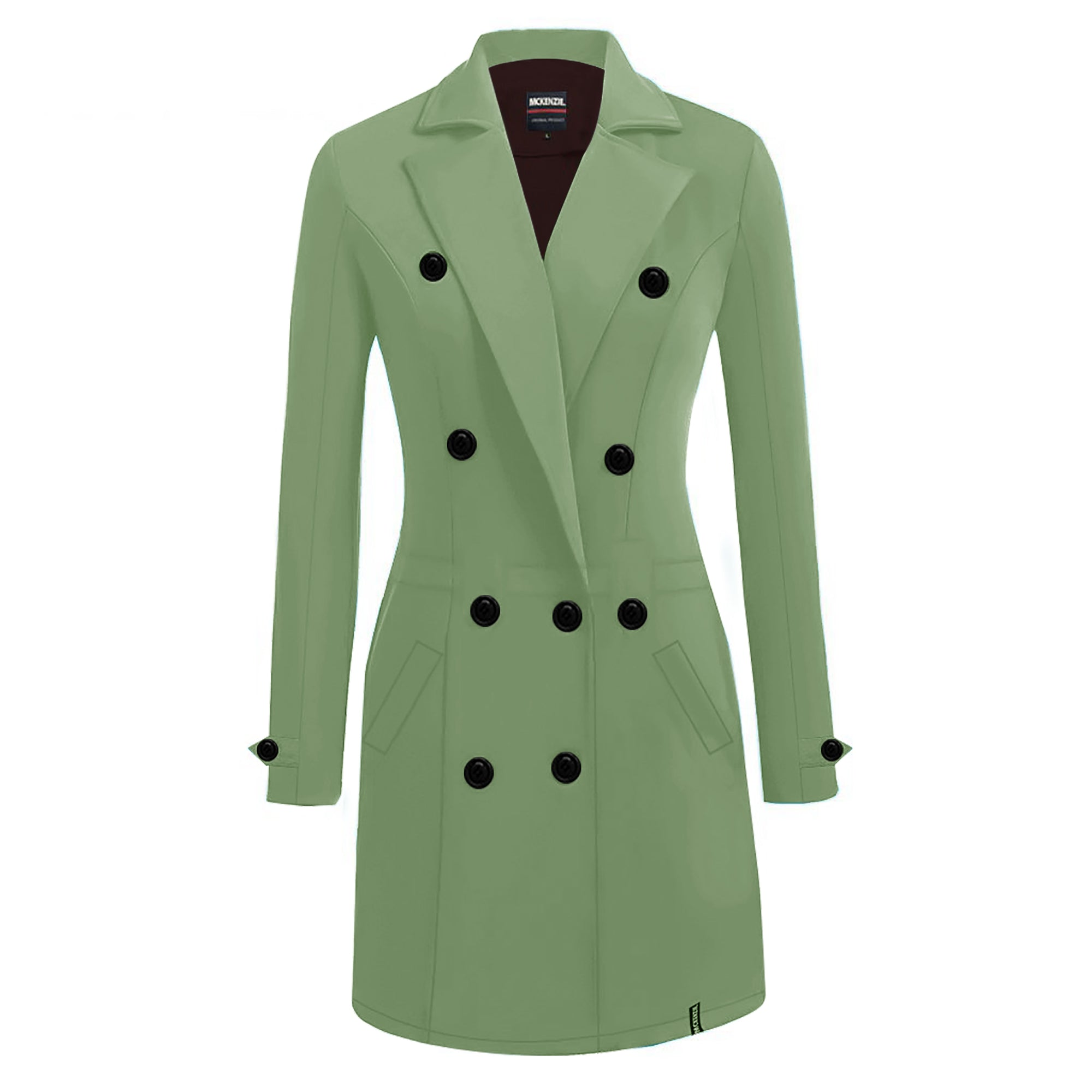 McKenzie Stylish Long Trench Coat For Ladies-Parrot Green-SP3953