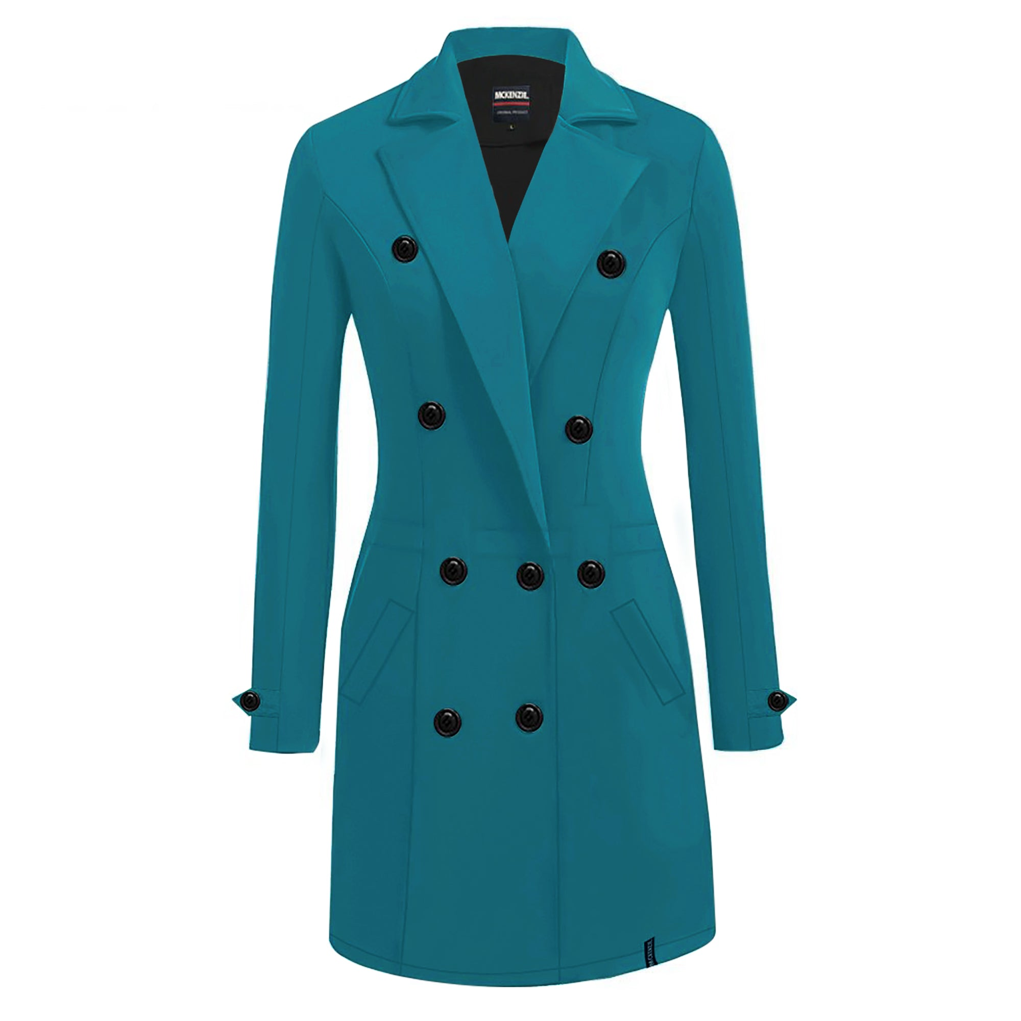 McKenzie Stylish Long Trench Coat For Ladies-Dark Sky Blue-SP3506