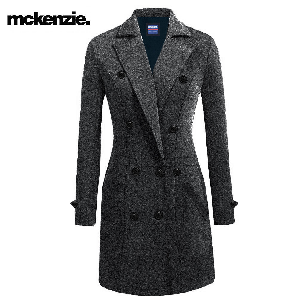 McKenzie Stylish Long Trench Coat For Ladies-Light Black Melange-NA6827