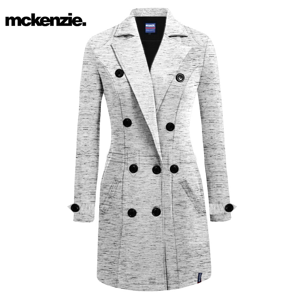 McKenzie Stylish Long Trench Coat For Ladies-Off White Melange-NA7374