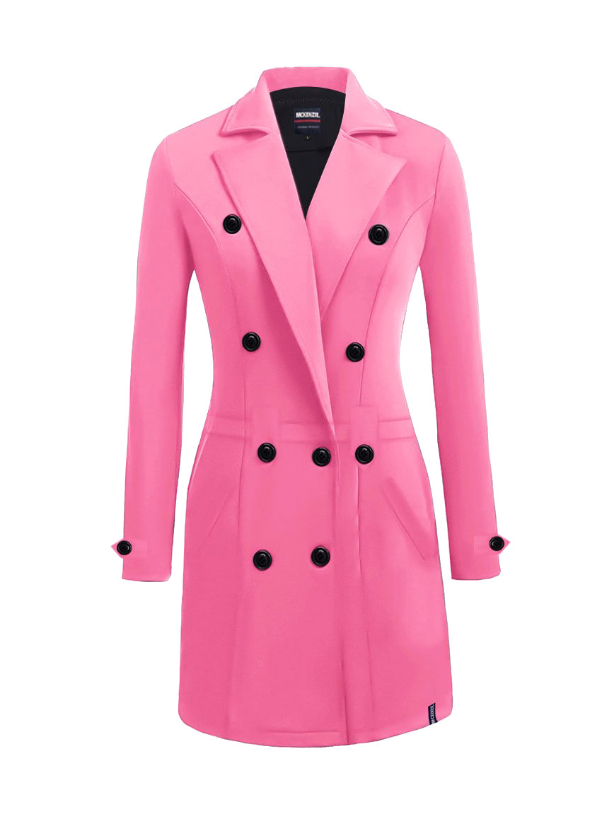 McKenzie Stylish Long Trench Coat For Ladies-Pink-NA10026