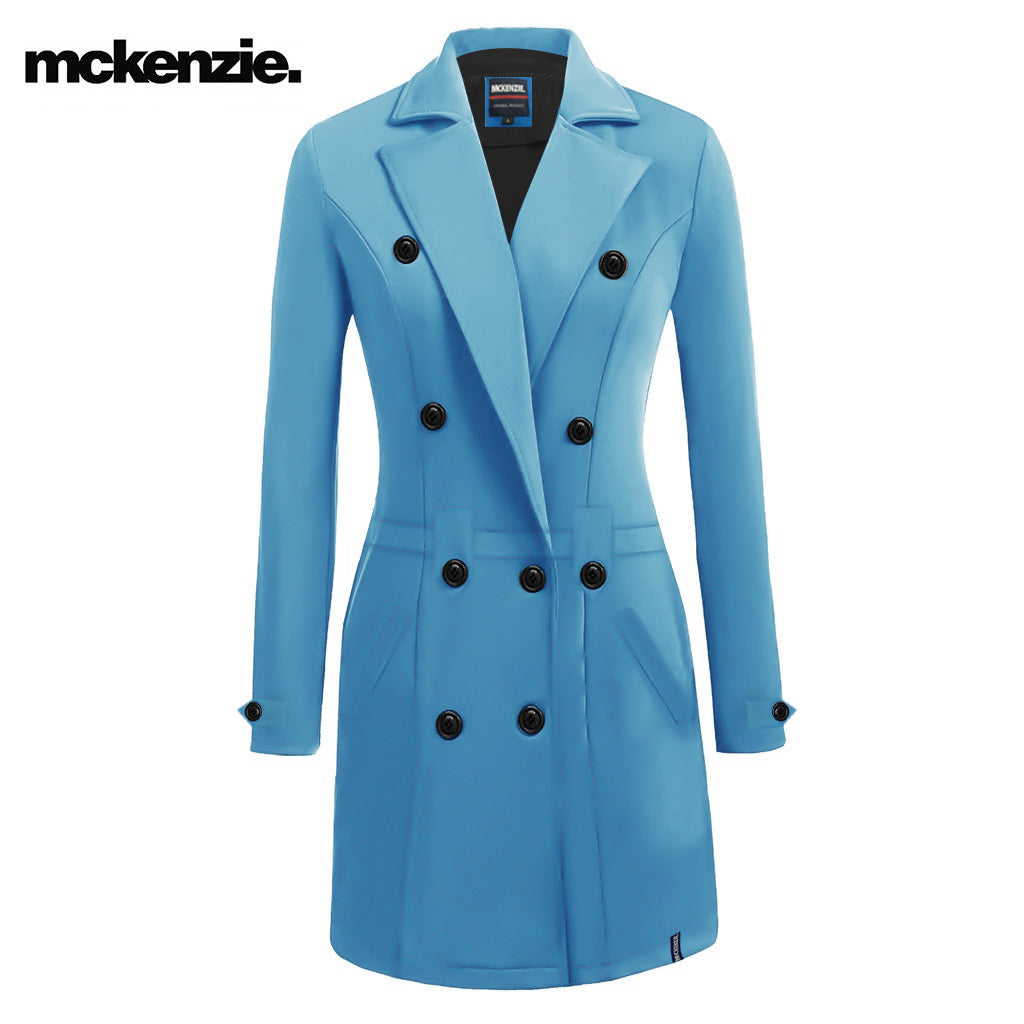 McKenzie Stylish Long Trench Coat For Ladies-Sky Blue-NA10031