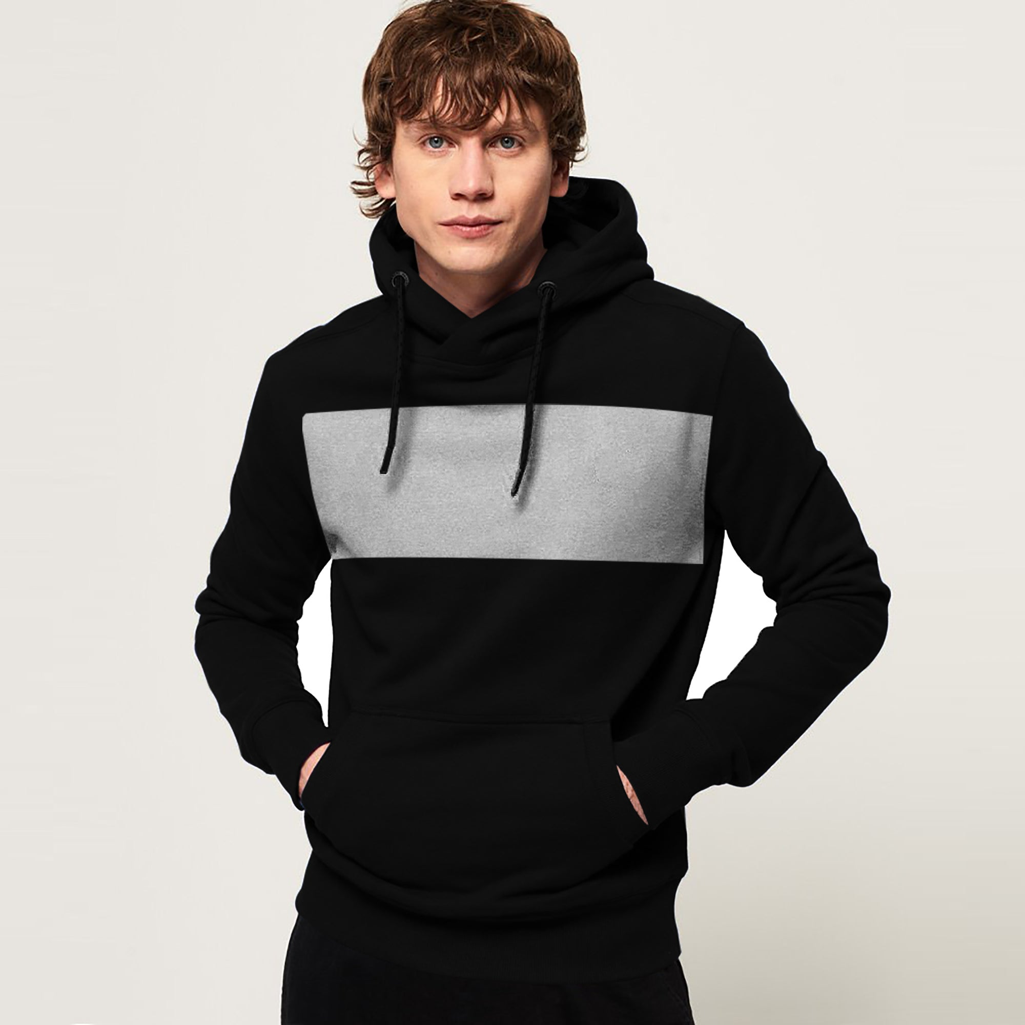 New Stylish Fleece Pullover Hoodie For Men-Black With Grey Panels-SP1654